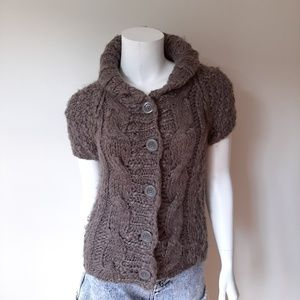 Vivienne Tam Gray Short Sleeve Cardigan Sweater